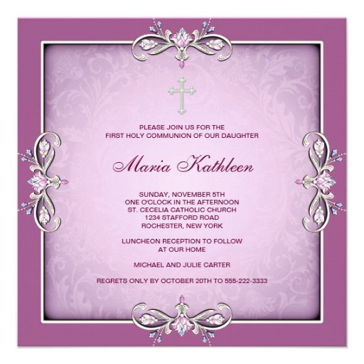 Pink Damask Cross Girls Pink First Communion Personalized Invites