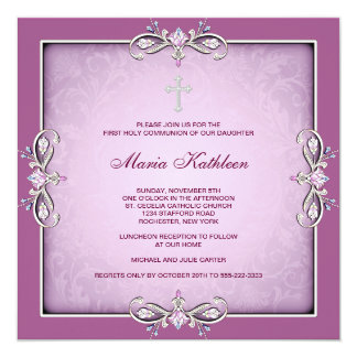 Pink Damask Cross Girls Pink First Communion 5.25x5.25 Square Paper Invitation Card