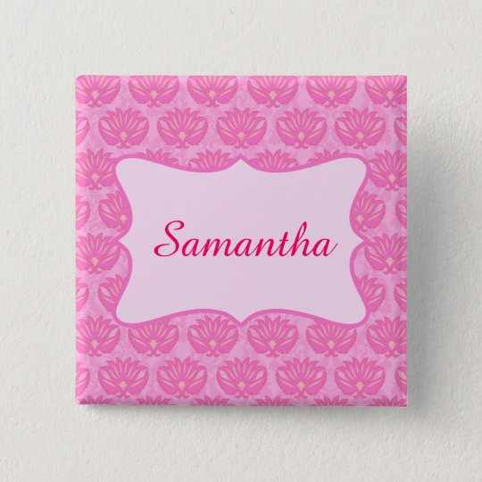 Pink Damask Custom Personalised Name Badge