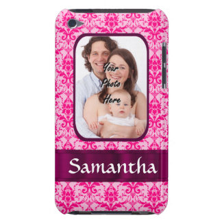 Pink damask custom photo barely there iPod covers