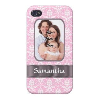 Pink damask custom photo iPhone 4 case