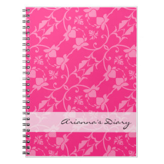 Pink Damask Diary Notebook