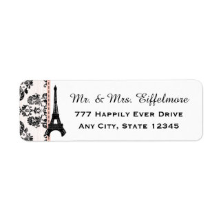 Pink Damask Eiffel Tower Return Address Label