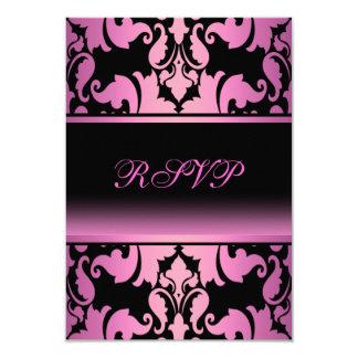 Pink Damask Elegant Quinceanera RSVP 9 Cm X 13 Cm Invitation Card