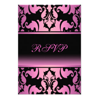 Pink Damask Elegant Quinceanera RSVP Personalized Invitations