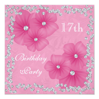 Pink Damask & Flowers 17th Birthday 13 Cm X 13 Cm Square Invitation Card