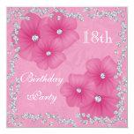 Pink Damask & Flowers 18th Birthday 13 Cm X 13 Cm Square Invitation Card