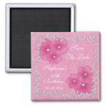 Pink Damask & Flowers 50th Birthday Square Magnet