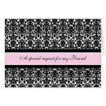 Pink Damask Friend Matron of Honour Invitation