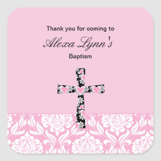 Pink Damask Girls BaptismThank You sticker