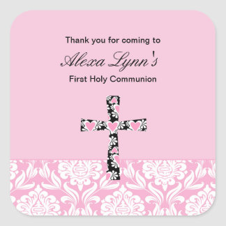 Pink Damask Girls Communion sticker