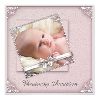 Pink Damask Girls Photo Christening 13 Cm X 13 Cm Square Invitation Card
