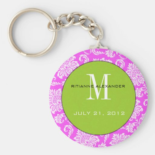 Pink Damask Green Monogram Wedding Keychain