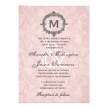 Pink Damask Grey Vintage Frame Monogram Wedding Invite