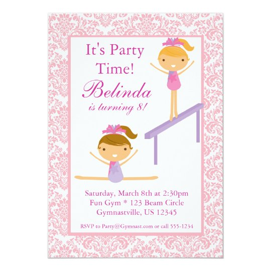 Pink Damask Gymnast Birthday Party Invitation