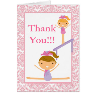 Pink Damask Gymnast Birthday Party Thank You Card