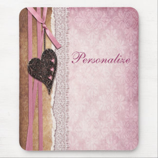 Pink Damask, Heart, Ribbon & Lace Mousepad