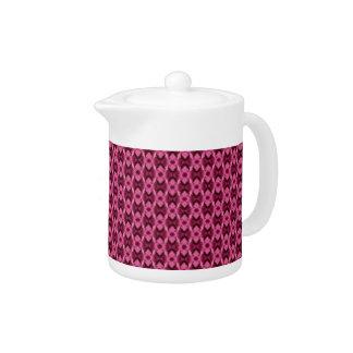 Pink Damask Hearts Small Teapot