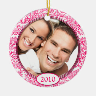 Pink Damask Love Birds Photo Christmas Ornament