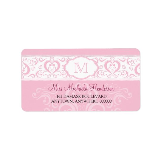 Pink Damask Monogram Address Label
