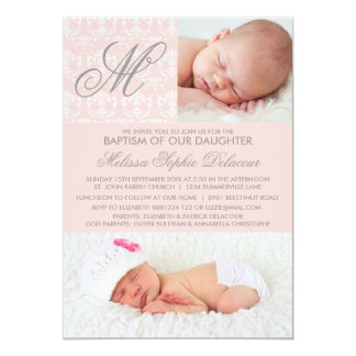 Pink Damask Monogram Baptism Photo Invitation