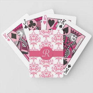 Pink Damask Monogram Playing Cards