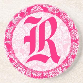 Pink Damask Monogram Wedding Anniversary Coaster