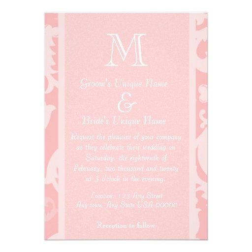 Pink Damask Monogram Wedding Custom Invitations