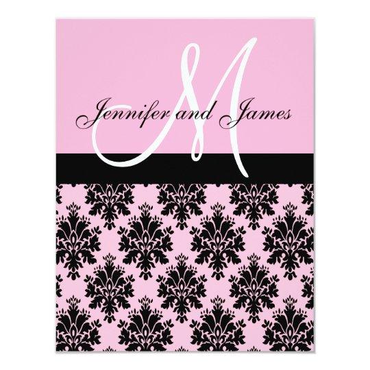 Pink Damask Monogram Wedding Invitations