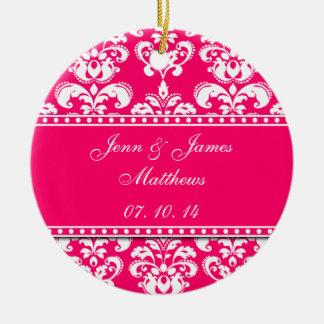 Pink Damask Names Date Wedding Ornaments