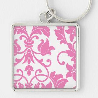 Pink Damask on White Key Chains