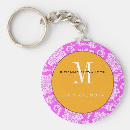 Pink Damask Orange Monogram Wedding Keychain