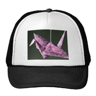 Pink Damask Origami Crane Cap