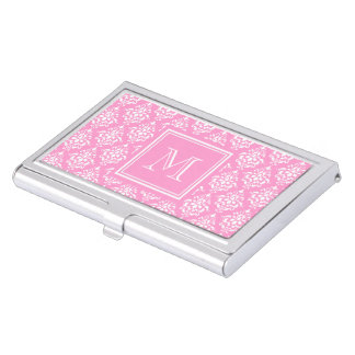 Pink Damask Pattern 1 with Monogram Business Card Holder