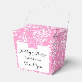 Pink Damask Pattern 1 with Monogram Favour Box