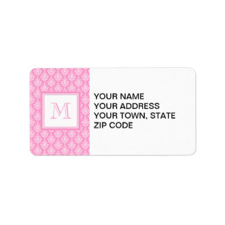 Pink Damask Pattern 1 with Monogram Label