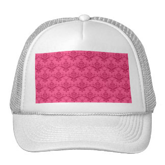 Pink damask pattern mesh hats