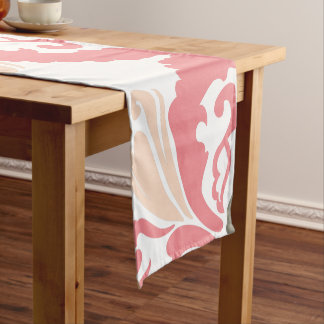 Pink Damask Pattern Short Table Runner