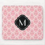 Pink Damask Pattern with Monogram Mouse Mat