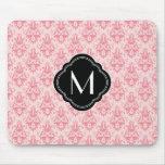 Pink Damask Pattern with Monogram Mouse Mat