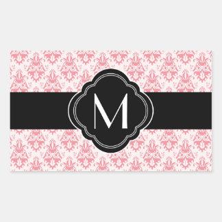 Pink Damask Pattern with Monogram Rectangular Sticker