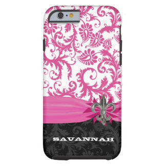 Pink Damask Personalized Printed Fleur de lis Tough iPhone 6 Case