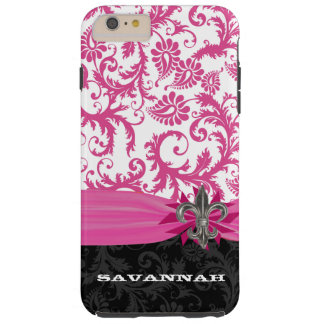 Pink Damask Personalized Printed Fleur de lis Tough iPhone 6 Plus Case