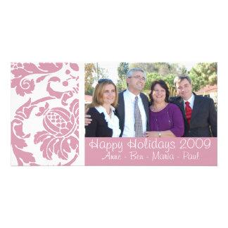 Pink Damask Photo Card