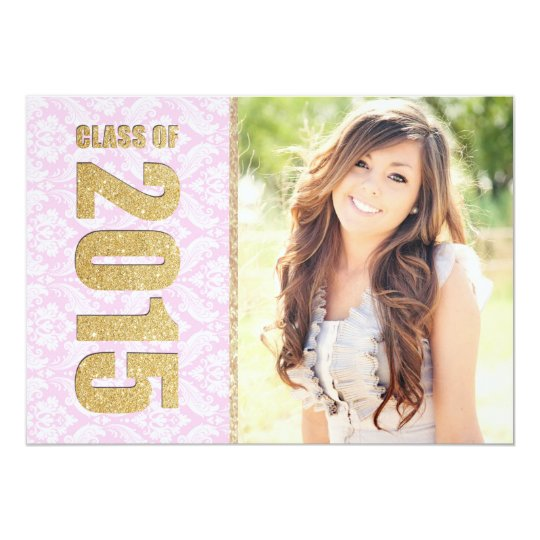 Pink Damask Photo Graduation Announcement