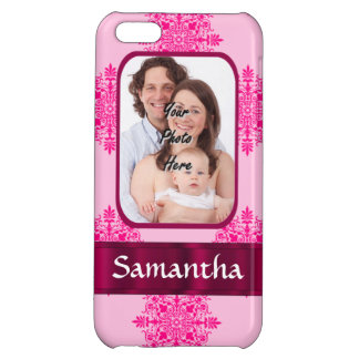 Pink damask photo template iPhone 5C case