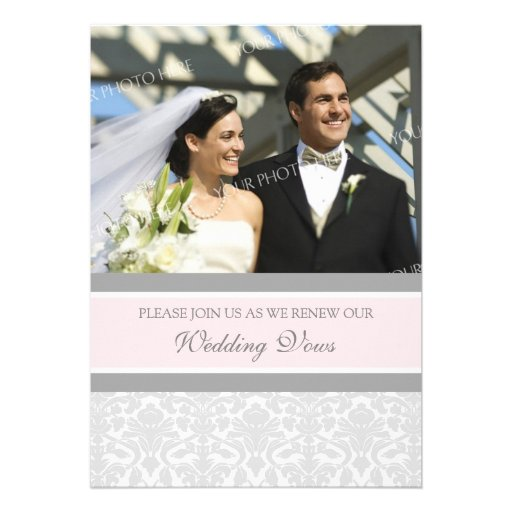 Pink Damask Photo Wedding Vow Renewal Invitations