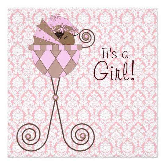 Pink Damask Pink Brown Baby Girl Shower Card