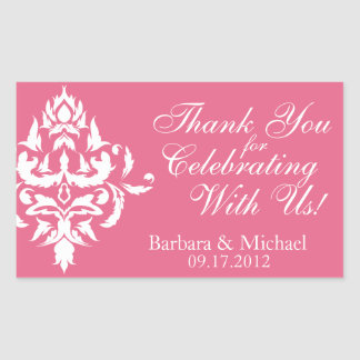 Pink Damask Rectangle Stickers