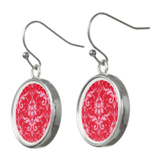 Pink Damask Red Background Drop Earrings